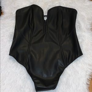Victoria secret leather and lace body suit